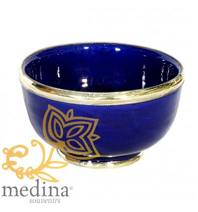 Moroccan enameled blue bowl with stainless metal trim