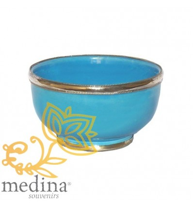 Moroccan enameled turquoise bowl with stainless metal trim