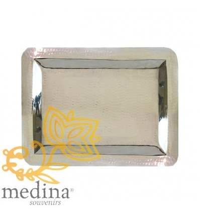 Big rectangular hammered silver tray